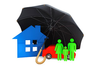 Car, home, family under umbrella
