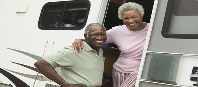 Elderly couple in motorhome