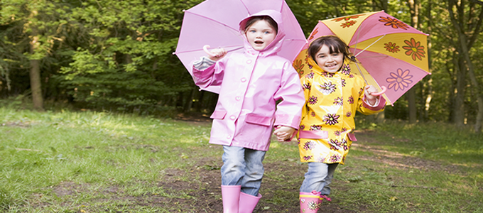Children dressed for rain